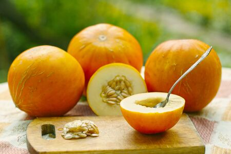 healthy food - whole and cut melon with seeds and teaspoon, kitchen board outdoor