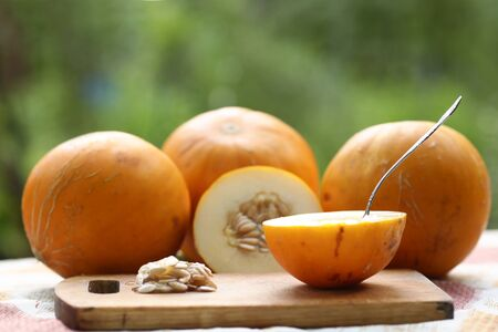 healthy food - whole and cut melon with seeds and teaspoon, kitchen board outdoor photo on green farm background