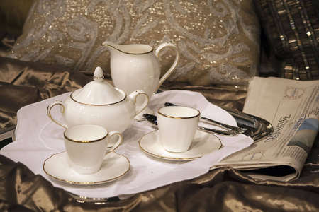 porcelain: Breakfast tray with morning tea