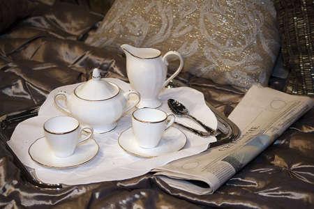 Breakfast tray with morning tea photo