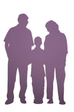 Family of three silhouette isolated on white photo