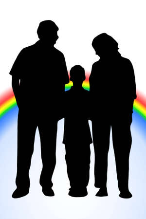 Family of three silhouette isolated on white with rainbow photo