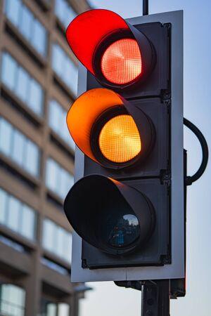 A Close-up of a UK Traffic Light Standard-Bild