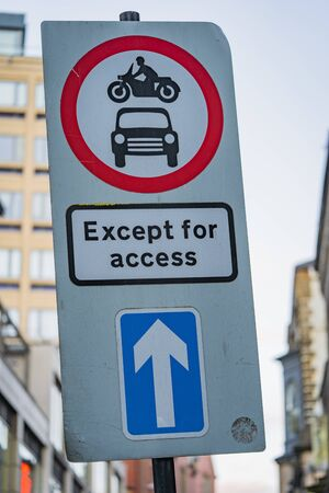 Except for access road sign in England