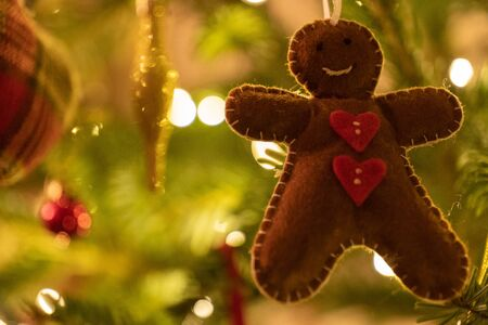 A fabric gingerbread man woman bear shaped Christmas Tree Decoration hanging from a tree