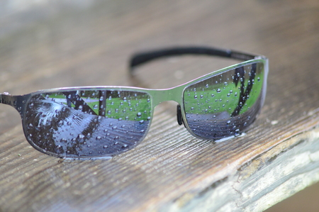 burgundy colour: Sunglasses in the Rain Stock Photo