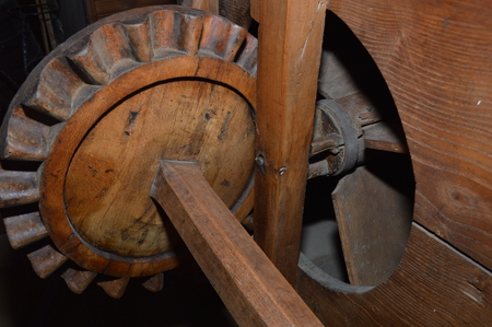An old wooden agriculture machine