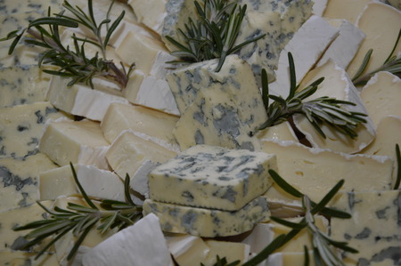 Zoom on some cheese decorated with rosemary Archivio Fotografico