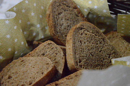 Zoom on a filled basket with sliced bread