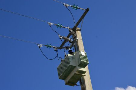 A current transformer on a power pole