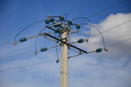 A power transmission line on a power pole Stockfoto