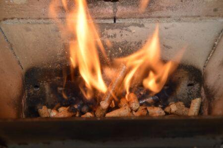 Wood pellets in the fire