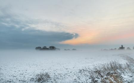 Sunrise in winter in Teufelsmoor near Bremen