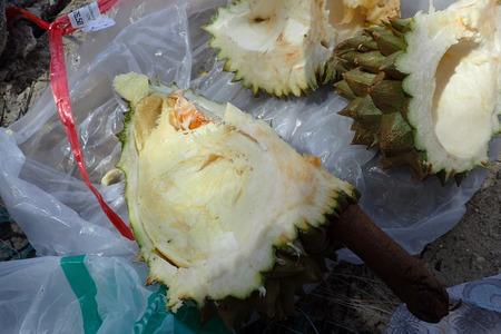 Cut durian on the beach