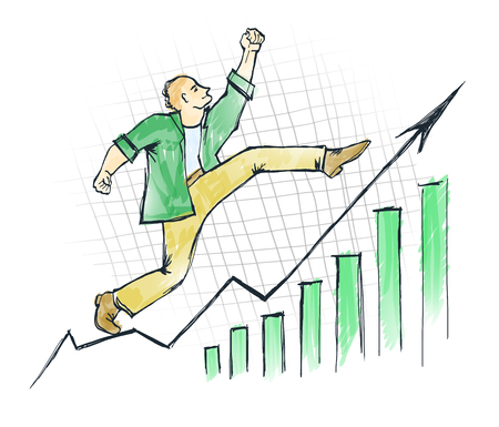 Successful man moves up Stock Photo