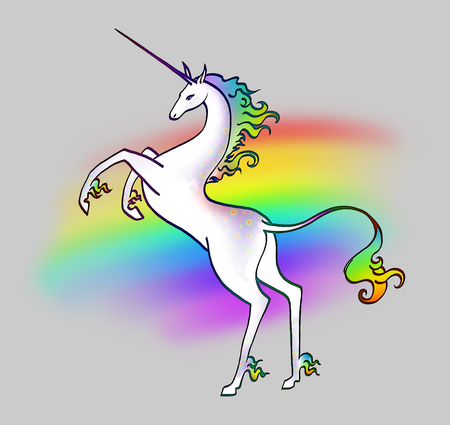 White unicorn on a rainbow background Фото со стока