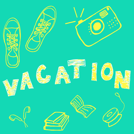 yoyo: Vector vacation card with sneakers, camera, books, headphones and yo-yo