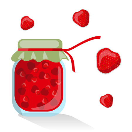 confiture: Vector isolated strawberry jam Illustration