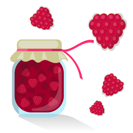 confiture: Vector isolated rapsberry jam and rapsberries Illustration