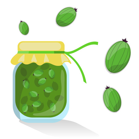 preserve: Vector isolated gooseberry jam with gooseberries