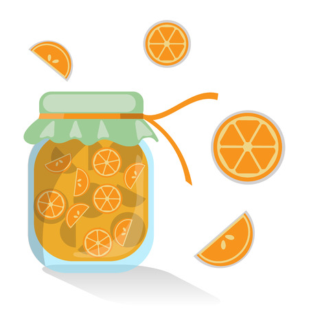 confiture: Vector isolated orange jam with segments of oranges