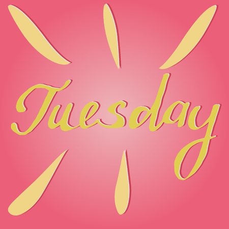 tuesday: Vector text Tuesday in pink and yellow Illustration