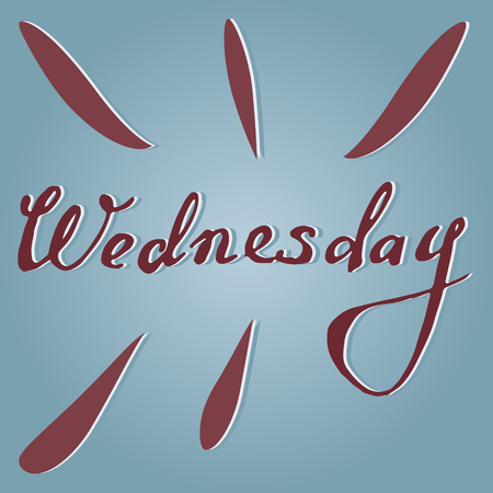 wednesday: Vector text Wednesday in blue and violet