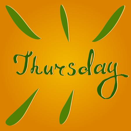 thursday: Vector text Thursday in orange and green