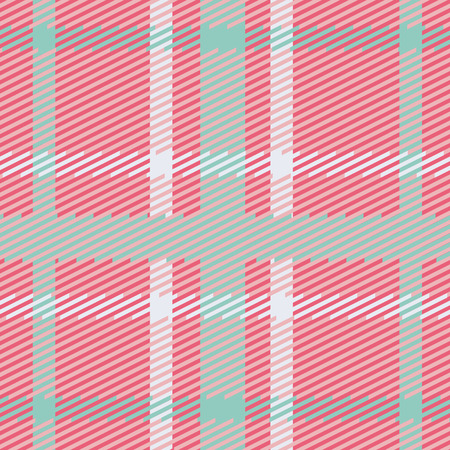 celtic background: Vector seamless scottish tartan pattern in pink, blue, turquoise and white. British or irish celtic design for textile, fabric, clothes or for wrapping, background, wallpaper, baby cards Illustration