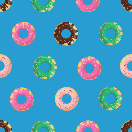 glazed: Vector seamless doughnut or donut pattern. Design for cards, menu, textile, fabric. Glazed sweets with chocolate, vanilla, strawberry and mint cream