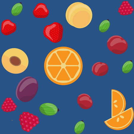 apricots: Vector seamless fruit pattern, Oranges, gooseberries, strawberries, plums, cherries, raspberries, apricots. Design for textile, fabric, greeting card, wrapping, menu, background