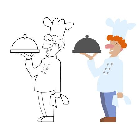 Vector Sin Pintar Y Cocinero De Cocinero De Color. Juego, Página ...