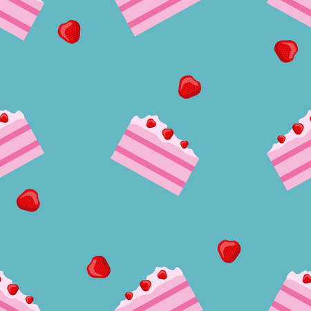 vanilla cake: Vector seamless cake and strawberry pattern. Design for cards, menu, textile, fabric. Sweets with vanilla, strawberry and cream