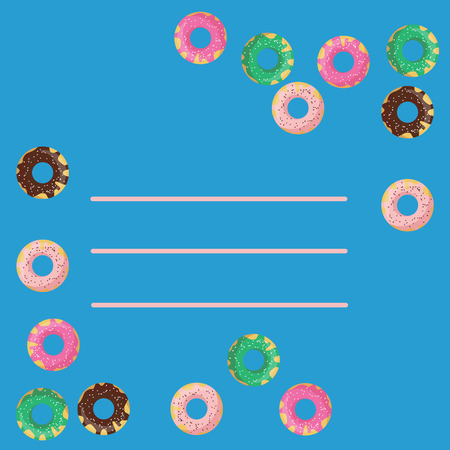 glazed: Vector frame of donuts on blue background. Flat style of chocolate, mint, strawberry and vanilla glazed donuts. Cartoon design for invitation, greeting, birthday card or menu. Illustration