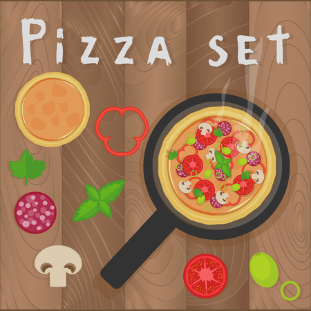pepperoni: Vector pizza set on wooden background in flat style. Pizza ingredients, mushrooms, tomatoes, pepperoni, pepper, basil, olive, vegetables, salami, parsley. Design for menu, brochures.