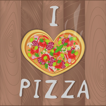 margherita: Vector romantic pizza on wooden background in flat style and heart shape and I love pizza text. Pizza design for romantic cards, valentines day, birthday, invitation and greeting card Illustration
