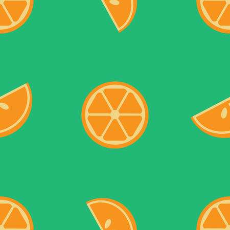 lobule: Vector seamless orange pattern with lobules or segments or sections of orange on green background. Design for cards, menu, textile, fabric.