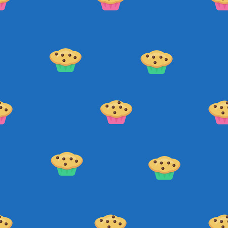 glazed: Vector seamless muffin pattern on blue background. Design for cards, menu, textile, fabric. Glazed sweets with chocolate candies