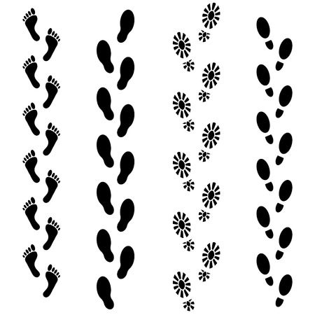 Vector set of human footprints icon. Collection of bare foots, boots, sneakers, shoes with heels. Design for frames, textile, fabric, invitation and greeting cards, booklets and brochures