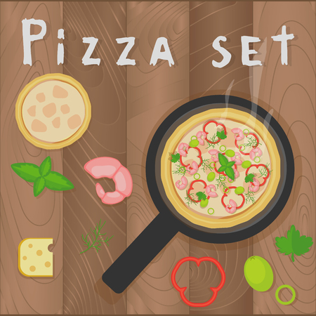 pizza ingredients: Vector pizza marinara set on wooden background in flat style. Pizza ingredients, shrimps, pepper, basil, olive, vegetables, cheese, parsley, dill, frutti di mare. Design for menu, brochures.