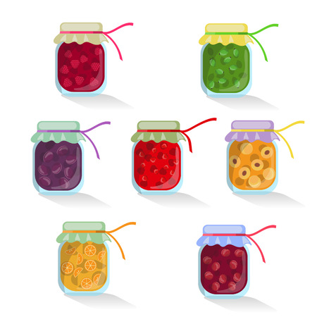 isolated set of jam jar with cherries, raspberries, gooseberries, plums, strawberries, apricots, oranges. Collection on white background. Eco, green, homemade healthy, tasty sweets