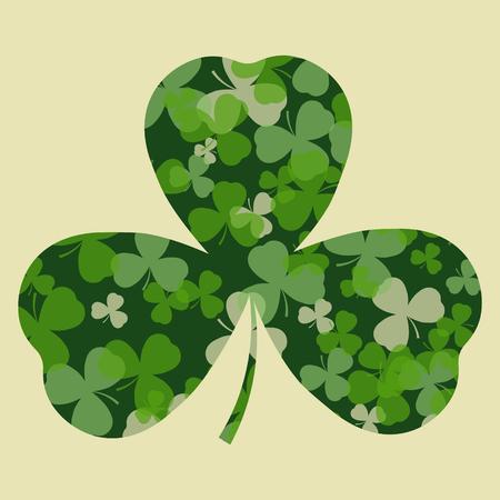clover leaf shape: St Patricks day card. Green clover leaves on clover leaf shape and white or beige background. Irish design for card, invitation or greeting, textile, website, brochures and booklets