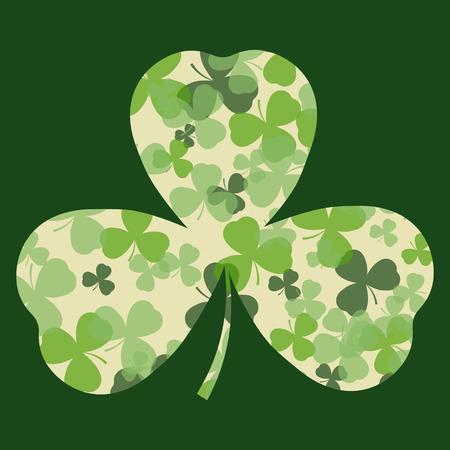 clover leaf shape: St Patricks day card. Green and white clover leaves on clover leaf shape and dark background. Irish design for card, invitation or greeting, textile, website, brochures and booklets