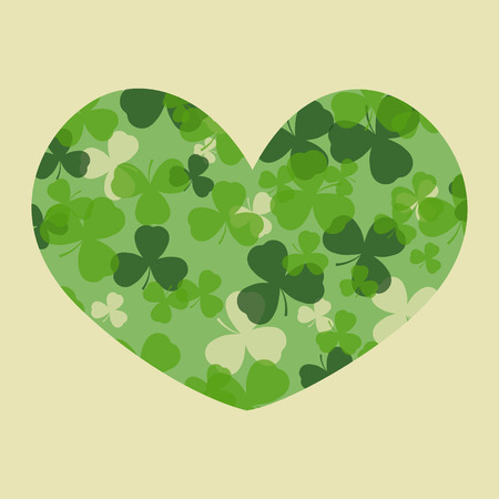 clover shape: St Patricks day card. Green clover leaves on clover heart shape and white or beige background. Irish spring design for card, invitation or greeting, textile, website, brochures and booklets