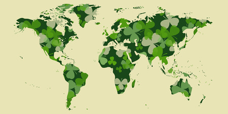 irish map: St Patricks day card. Green clover leaves on world map shape and white or beige background. Irish spring design for card, invitation or greeting, website. International holiday