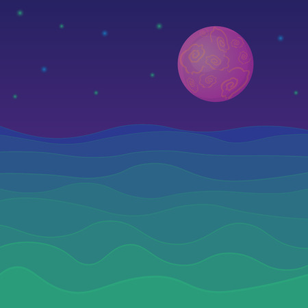 planet futuristic: Vector fantastic background in navy blue, green, purple. Rising planet or satellite, stars in the sky. Futuristic design for cards, websites