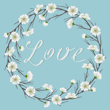apple blossom: apple blossom branch frame in sky blue background. Floral frame for greeting, wedding, invitation cards, postcards. Lovely, tender spring or summer design Illustration
