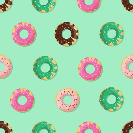 glazed: Seamless doughnut or donut pattern. Design for cards, menu, textile, fabric. Glazed sweets with chocolate, vanilla, strawberry and mint cream Illustration