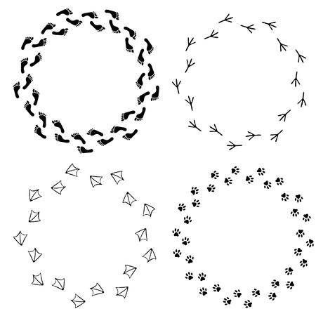 animal tracks: Vector conjunto de marcos de la huella. Conjunto de los pies descalzos aislados, la huella del pájaro, gato o perro huella. Diseño para las tarjetas, folletos, folleto, bandera, aviador, sitio web.