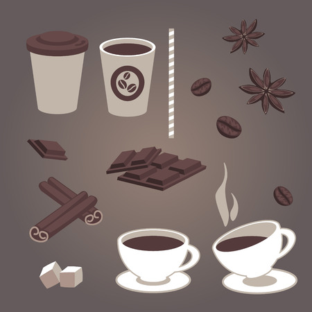 cold drinks: Vector set of isolated coffee items, coffee cups, pieces of chocolate, star anise, coffee beans, cinnamon, hot and cold drinks. Retro design for cafe or restaurant menu. Coffee to go